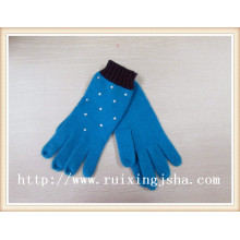 2015 black knitted Hot drilling custom gloves