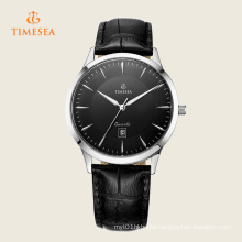 Men′s Date Quartz Watch with Black Leather Strap 72271