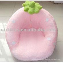 sofá de brinquedo de morango recheado de pelúcia rosa