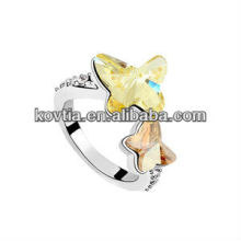 New model ring designs butterfly finger ring for girls white gold yellow crystal rings