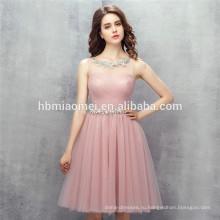 2017 новый дизайн горячий продавать сплошной цвет женщин платье мини розовые платья невесты для свадьбы с мягким поясом
