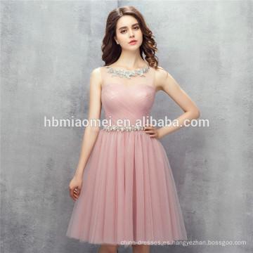 2017 nuevo diseño de la venta caliente mujeres del color sólido vestido de fiesta mini rosa vestidos de dama de honor para la boda con el marco suave
