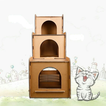 Cardboard Cat Playhouse for cat toys