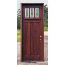 Exterior Plain Traditional Solid Rustic Puertas de madera dura