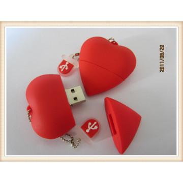 Coração vermelho forma USB Flash Drive com material de PVC (EP035)