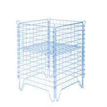 Jaula de malla de alambre de almacenamiento plegable de acero metálico apilable