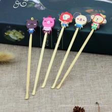 Cuchara de bambú para orejas de dibujos animados Cuchara de bambú mini de bebé personalizados