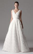 Ball Gown V-neck Floor-length Organza Appliques Wedding Dress