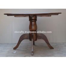 Mesa de jantar de madeira maciça de madeira de manjericão Design indiano colonial