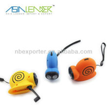 Snail shape hand shake dynamo led flashlight