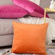 Taies d'oreiller carrées décoratives en velours coloré