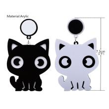 Brincos assimétricos simples adorável pequeno preto gato branco