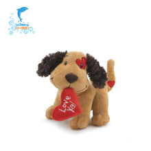 Customized plush valentine soft dog toys with heart