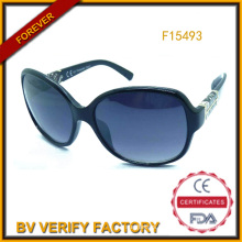 Trade Assurance Plastic Sunglasses with Decoration in Temples (F15493)