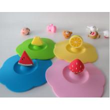 Cubierta de goma de la tapa de la taza del silicón del diseño de la fruta divertida