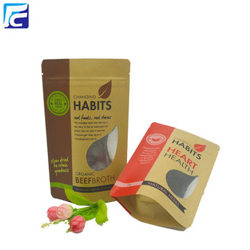 Food Grade Ziplock Pouch Kraft Paper Doypack Bag