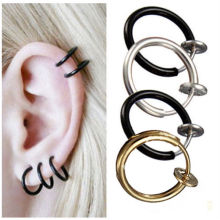Punk Fake Piercing Clip On Nose Lip Hoop Ring Earrings Stud Hoop Septum Gold Silver Black