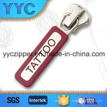 Slider en caoutchouc personnalisé en métal pour bracelets avec nom de marque