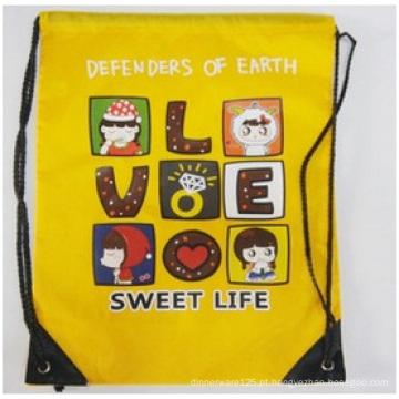 Bolsas promocionais com cordão, mochilas de desenho animado logotipo Hot Stamping