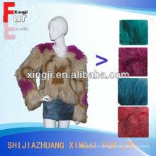 высокое качество женщины шуба крашеный цвет вязаный Енот пальто