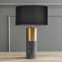 2020 Black gold fabric bedside table lamp luxury marble led reading lamp