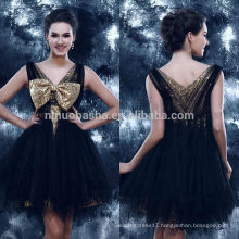 New Arrival 2014 Black V-Neck Short Tulle Made Homecoming Dress Graduation Gown With Shiny Gold Sequin Bow&Lining NB0842