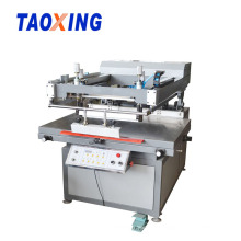 Oblique arm flatbed screen printing machine