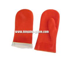 Люминесцентные предупреждающие цвета ПВХ перчатки без пальцев-5117