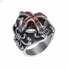 Nova prata de aço inoxidável 316L gravada christian cross rings