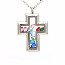 Fashion crystal shaker glass bottle cross locket pendant jewelry