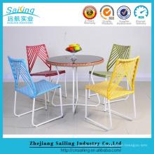 Парусный новый стиль Античный пластиковый ротанга Гардеробные стулья и столы