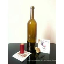 Siebdruck Oberflächenbehandlung und Korkabdichtung Typ Glas Weinflasche 750ml