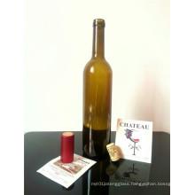 Screen Printing Surface Handling and Cork Sealing Type Glass Wine Bottle 750ml