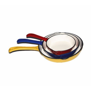 Cast Iron color enamel coating frying pan