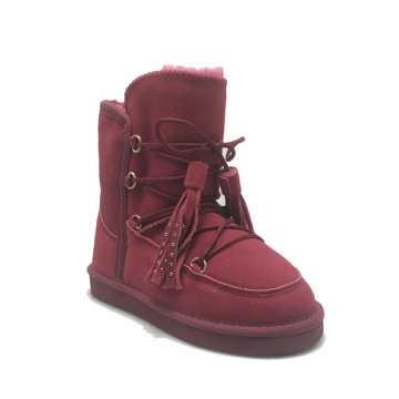 Girls Lace Up Leather Fur Lined Outdoor Boots