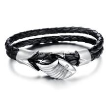 2015 nueva pulsera de acero titanium personalizó la pulsera PH868 del cuero de la manera