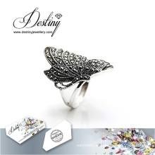 Destino joyería cristal de Swarovski anillo mariposa