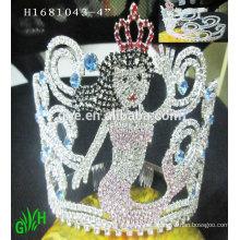 El nuevo diseño, venta al por mayor, tiara grande de la sirena del rhinestone