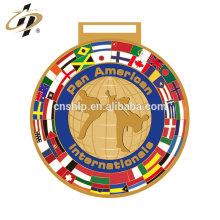 Drapeau en argent or personnalisé conçoit des médailles de trophée de sport de karaté en métal