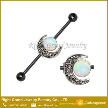 Brinco industrial do Barbell da lua Jeweled chapeado de aço cirúrgico do preto da opala