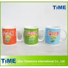 Taza de encargo de la publicidad de cerámica del gres del logotipo de la impresión