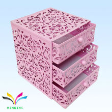 China Herstellung Metall Mesh Mini 3 Stufen rosa Schublade Aufbewahrungsbox