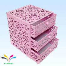 China fabrica malas de metal mini 3 camadas gaveta rosa caixa de armazenamento