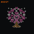 Never Give Up Pink Ribbon Heat Rhinestone Motif