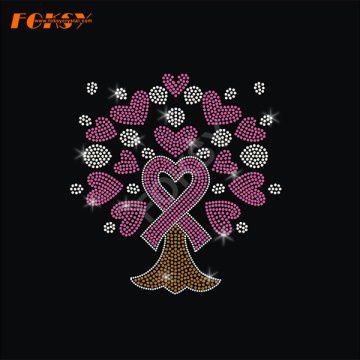 Heart Tree Pink Ribbon Heat Rhinestone Transfer