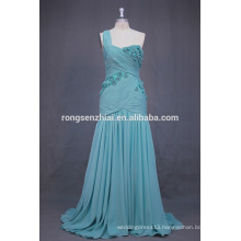 ED Bridal Real Sample One Shoulder Peacock Blue Pleated Chiffon Alibaba Bridesmaid Dress Patterns 2017