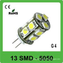 360 degrés émettant 13 SMD 5050 12V led G4 ampoule