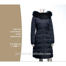 Бренд 2016New модная одежда натурального меха с капюшоном молния длинные Стиль женщины теплый вниз пальто размер XL-Размер 4xl