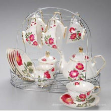 Juego de té de porcelana de 15 piezas con estante de metal JXSK001