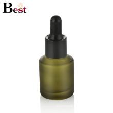 cosmetic packaging 30ml oblique shoulder matte green glass dropper bottle serum bottle